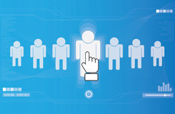 Hand icon pushing human button Stock Photo