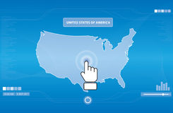 Hand icon pushing usa map Stock Photos