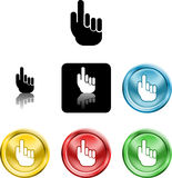 Hand icon symbol. Several versions of an icon symbol of a stylised hand pointing finger upwards Stock Photo