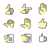 Hand icons. Icon set with hands on different position royalty free illustration
