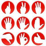 Hand icons. Vector set of hand icons Royalty Free Stock Photos