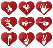 Hand icons. Vector illustration of hand icons in hearts Stock Photography