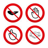 Hand icons. Handshake and click here symbols Royalty Free Stock Images
