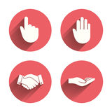 Hand icons. Handshake and click here symbols Royalty Free Stock Photos