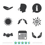 Hand icons. Handshake and insurance symbols. Hand icons. Handshake successful business symbol. Insurance protection sign. Human helping donation hand. Prayer vector illustration