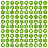100 hand icons hexagon green. 100 hand icons set in green hexagon isolated vector illustration stock illustration