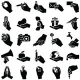 Hand icons. Hand icon collection -  silhouette illustration Royalty Free Stock Photography