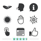 Hand icons. Like thumb up and click here symbols. Hand icons. Like thumb up symbol. Click here press sign. Helping donation hand. Information, go to web and Royalty Free Stock Images