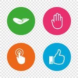 Hand icons. Like thumb up and click here symbols. Stock Photography