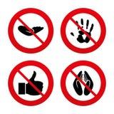 Hand icons. Like thumb up and insurance symbols Royalty Free Stock Photos