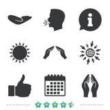 Hand icons. Like thumb up and insurance symbols. Stock Photography