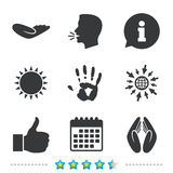Hand icons. Like thumb up and insurance symbols. Hand icons. Like thumb up symbol. Insurance protection sign. Human helping donation hand. Prayer hands Stock Photo