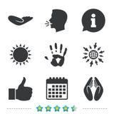 Hand icons. Like thumb up and insurance symbols. Hand icons. Like thumb up symbol. Insurance protection sign. Human helping donation hand. Prayer hands stock illustration
