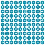 100 hand icons sapphirine violet. 100 hand icons set in sapphirine hexagon isolated vector illustration Stock Photography