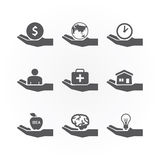 Hand icons saving concept design vector. Stock Photos