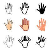 Hand icons set. Human hand icons vector set stock illustration