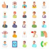 Hand icons set, cartoon style Stock Image