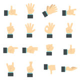 Hand icons set, flat ctyle Royalty Free Stock Images