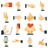 Hand icons set flat. Hand gestures flat icons set expressing victory rejection and love with heart symbol abstract vector isolated illustration Royalty Free Stock Photos