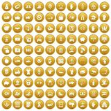 100 hand icons set gold. 100 hand icons set in gold circle isolated on white vectr illustration Stock Image
