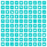 100 hand icons set grunge blue. 100 hand icons set in grunge style blue color isolated on white background vector illustration Stock Image
