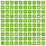 100 hand icons set grunge green. 100 hand icons set in grunge style green color isolated on white background vector illustration Royalty Free Stock Photo