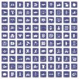 100 hand icons set grunge sapphire Royalty Free Stock Image
