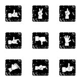 Hand icons set, grunge style. Hand icons set. Grunge illustration of 9 hand vector icons for web Royalty Free Stock Photos