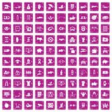 100 hand icons set grunge pink. 100 hand icons set in grunge style pink color isolated on white background vector illustration royalty free illustration