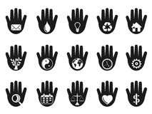 Hand with icons set Royalty Free Stock Photos