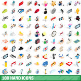 100 hand icons set, isometric 3d style Stock Photography