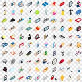100 hand icons set, isometric 3d style Royalty Free Stock Images