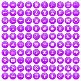 100 hand icons set purple. 100 hand icons set in purple circle isolated vector illustration Royalty Free Stock Image