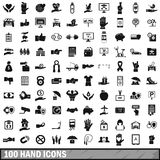 100 hand icons set, simple style. 100 hand icons set in simple style for any design vector illustration Stock Photography
