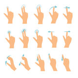 Hand icons showing commonly used multi-touch gestures for touchs. Creen tablets or smartphones. Flat design modern vector business concept Stock Photos