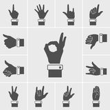 Hand icons vector set. Black hand icons vector on the gray background Stock Photography