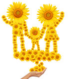 Hand idea with sunflower family image. Stock Image