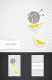 Hand illustrated business card. Artistic, bird illustrated logo. Knitting concept design Stock Image
