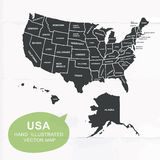 Hand illustrated vector map of United States. Royalty Free Stock Images