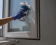 Hand im blauen Handschuh mit waschendem Fensterglas des Lappens Stockfoto