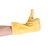 Hand im Handschuhshow-O.K. stockbild