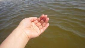 Hand im Wasserstrandozean Stockfoto