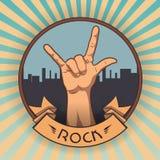 Hand im Zeichen des Rocks n Rollen Retro- Felsenplakat vektor abbildung