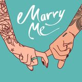 Hand image with tattoos of a young couple clasped with index fingers with the words ` Marry me`. Vector illustration Stock Image