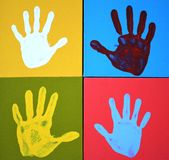 Hand impressions on canvas Royalty Free Stock Images