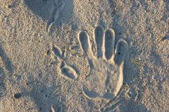 Hand imprint on sand Stock Photography