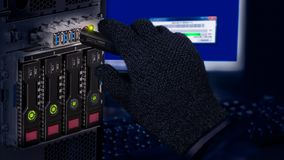 Free Hand In Black Glove Holding USB Flash Drive. Computer Data Theft Detail Royalty Free Stock Images - 138855869