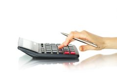 Hand In Calculator Royalty Free Stock Photography