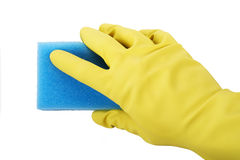 Hand In Rubber Gloves Holding Sponge Royalty Free Stock Photos