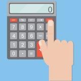 Hand includes a calculator. Calculator business man. Royalty Free Stock Photos